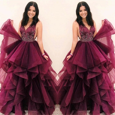 Stunning Burgundy Asymmetrical V-Neck Sleeveless Prom Dresses | A-Line Appliques Floor-Length Evening Gown_3