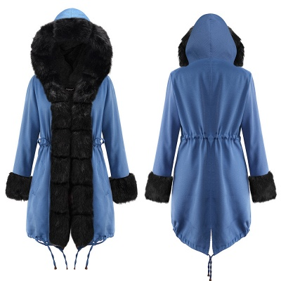 Women's Solid Color Hooded Long Faux Fur Coat Winter Jacket_22