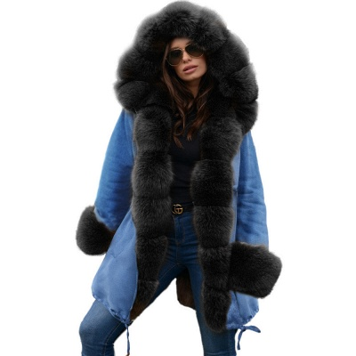 Women's Solid Color Hooded Long Faux Fur Coat Winter Jacket_24