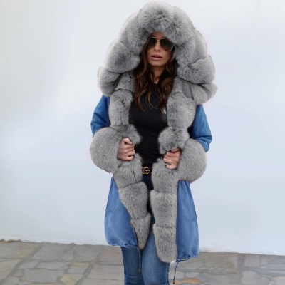 Women's Solid Color Hooded Long Faux Fur Coat Winter Jacket_10