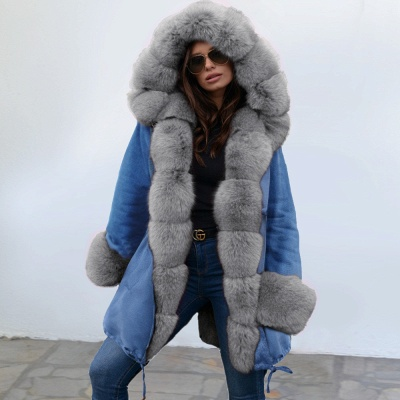Women's Solid Color Hooded Long Faux Fur Coat Winter Jacket_12