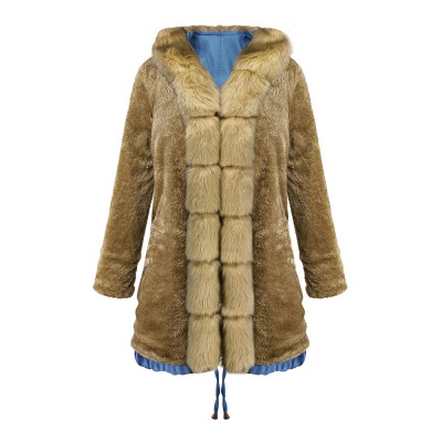 Women's Solid Color Hooded Long Faux Fur Coat Winter Jacket_46