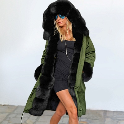 Classic Army Green Faux Fur-trimmed Long Coat Winter Jacket_9