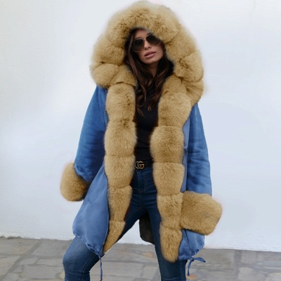 Women's Solid Color Hooded Long Faux Fur Coat Winter Jacket_14