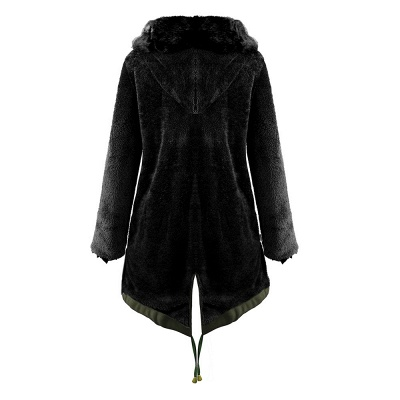 Classic Army Green Faux Fur-trimmed Long Coat Winter Jacket_16