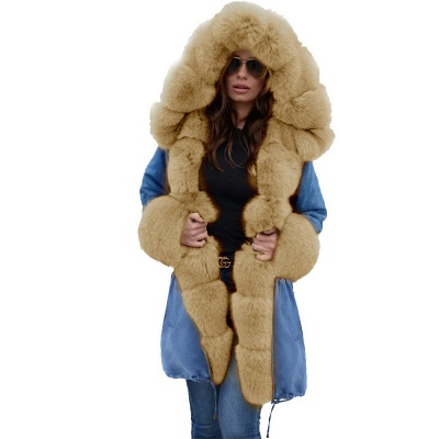 Women's Solid Color Hooded Long Faux Fur Coat Winter Jacket_50
