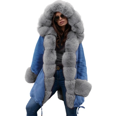 Women's Solid Color Hooded Long Faux Fur Coat Winter Jacket_32