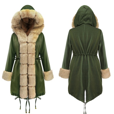Classic Army Green Faux Fur-trimmed Long Coat Winter Jacket_17