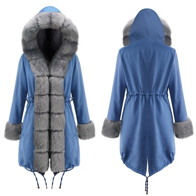 Women's Solid Color Hooded Long Faux Fur Coat Winter Jacket_19