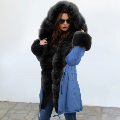 Women's Solid Color Hooded Long Faux Fur Coat Winter Jacket_3
