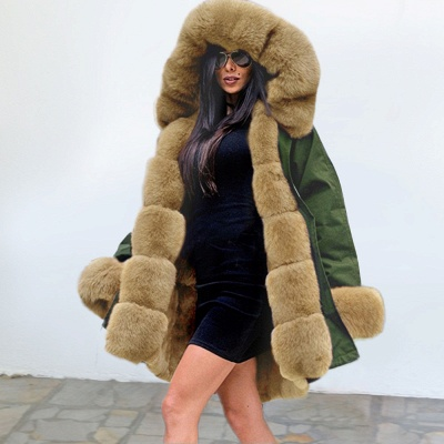 Classic Army Green Faux Fur-trimmed Long Coat Winter Jacket_6