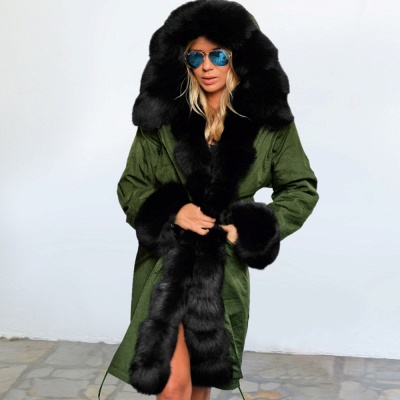 Classic Army Green Faux Fur-trimmed Long Coat Winter Jacket_10