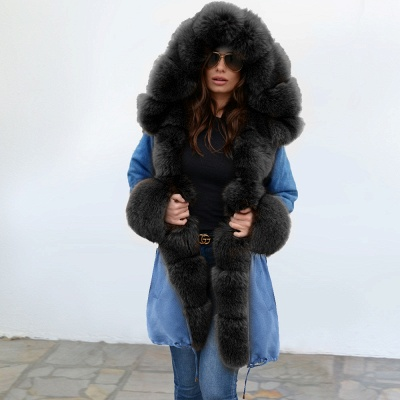 Women's Solid Color Hooded Long Faux Fur Coat Winter Jacket_9