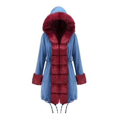 Women's Solid Color Hooded Long Faux Fur Coat Winter Jacket_36