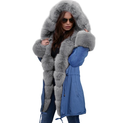 Women's Solid Color Hooded Long Faux Fur Coat Winter Jacket_39