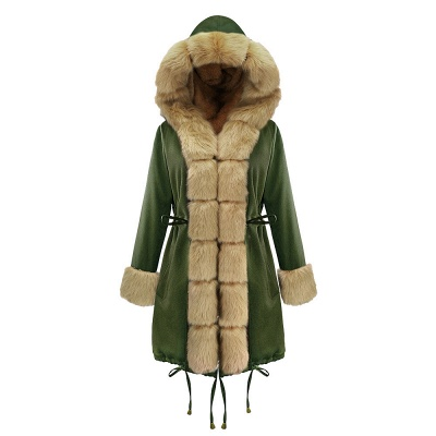 Classic Army Green Faux Fur-trimmed Long Coat Winter Jacket_12