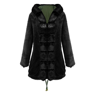 Classic Army Green Faux Fur-trimmed Long Coat Winter Jacket_19