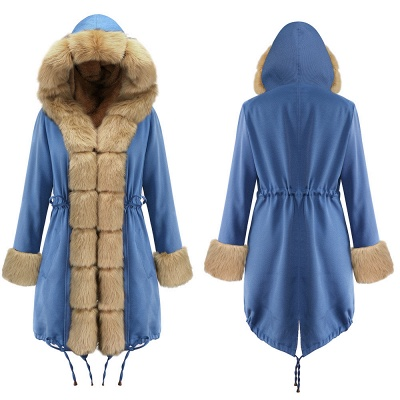 Women's Solid Color Hooded Long Faux Fur Coat Winter Jacket_18