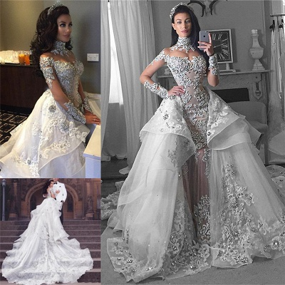 Glamorous Long Sleeves Tulle High Neck 2020 Bride Dresses Appliques Wedding Dresses with Detachable Overskirt qq0375_9