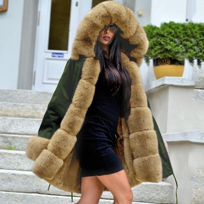 Classic Army Green Faux Fur-trimmed Long Coat Winter Jacket_4