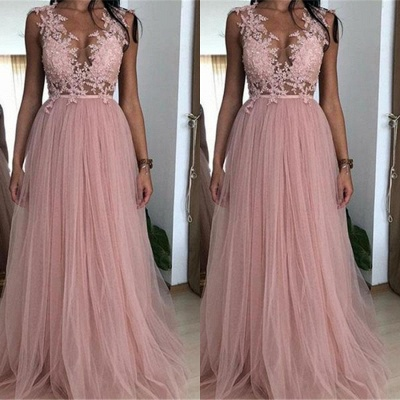 Cheap Straps Appliques Tulle Party Dresses | Newest Sleeveless Pink A-Line Prom Dresses_2