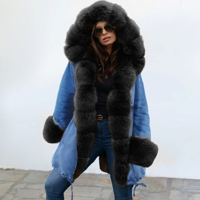 Women's Solid Color Hooded Long Faux Fur Coat Winter Jacket_7