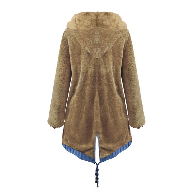Women's Solid Color Hooded Long Faux Fur Coat Winter Jacket_43