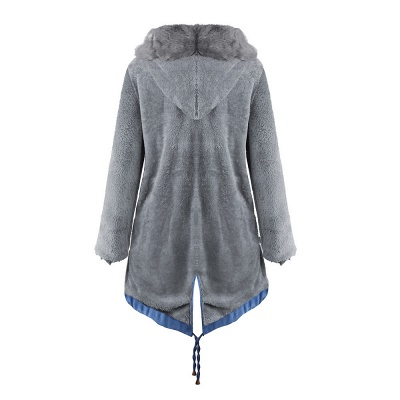Women's Solid Color Hooded Long Faux Fur Coat Winter Jacket_31