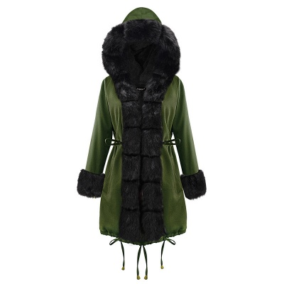 Classic Army Green Faux Fur-trimmed Long Coat Winter Jacket_15