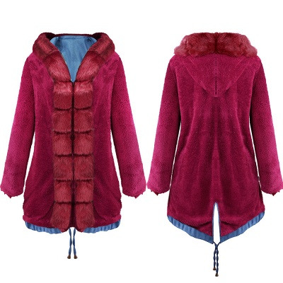 Women's Solid Color Hooded Long Faux Fur Coat Winter Jacket_17