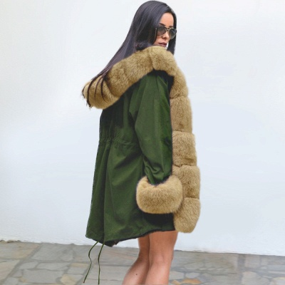 Classic Army Green Faux Fur-trimmed Long Coat Winter Jacket_7