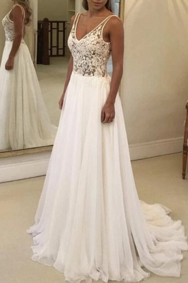V-Neck Sleeveless Beach Wedding Dress Lace Long Bridal Gowns On Sale BC0875_4