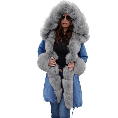 Women's Solid Color Hooded Long Faux Fur Coat Winter Jacket_33