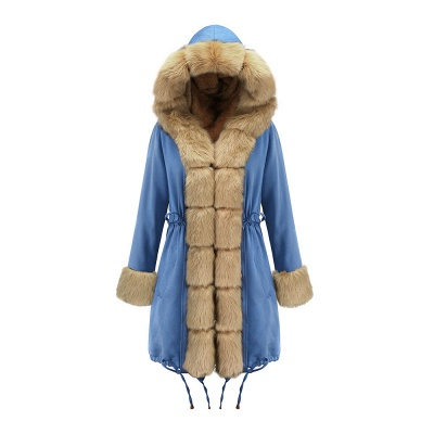 Women's Solid Color Hooded Long Faux Fur Coat Winter Jacket_42