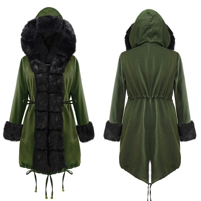 Classic Army Green Faux Fur-trimmed Long Coat Winter Jacket_14