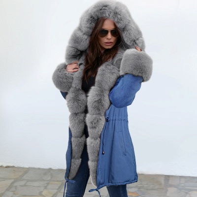 Women's Solid Color Hooded Long Faux Fur Coat Winter Jacket_11