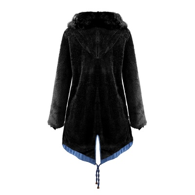 Women's Solid Color Hooded Long Faux Fur Coat Winter Jacket_37