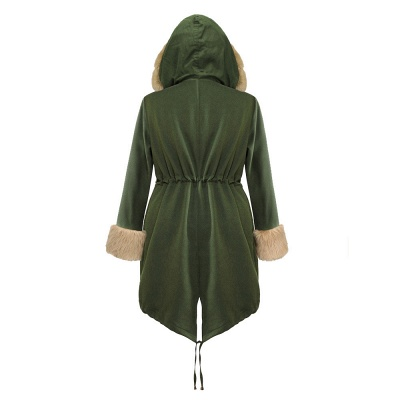Classic Army Green Faux Fur-trimmed Long Coat Winter Jacket_13