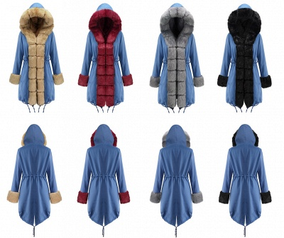 Women's Solid Color Hooded Long Faux Fur Coat Winter Jacket_25