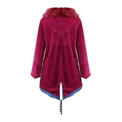 Women's Solid Color Hooded Long Faux Fur Coat Winter Jacket_44