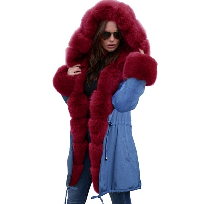 Women's Solid Color Hooded Long Faux Fur Coat Winter Jacket_49