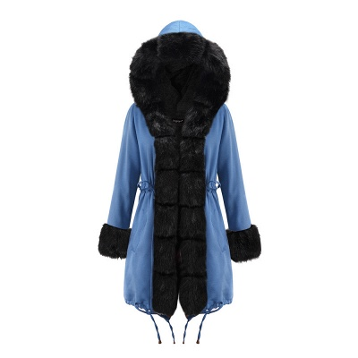Women's Solid Color Hooded Long Faux Fur Coat Winter Jacket_23