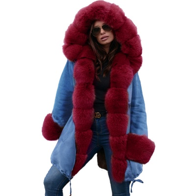 Women's Solid Color Hooded Long Faux Fur Coat Winter Jacket_45