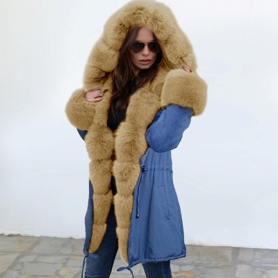 Women's Solid Color Hooded Long Faux Fur Coat Winter Jacket_15