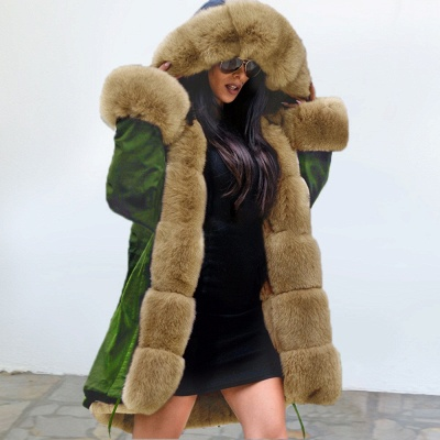 Classic Army Green Faux Fur-trimmed Long Coat Winter Jacket_3