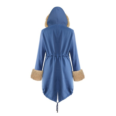Women's Solid Color Hooded Long Faux Fur Coat Winter Jacket_41