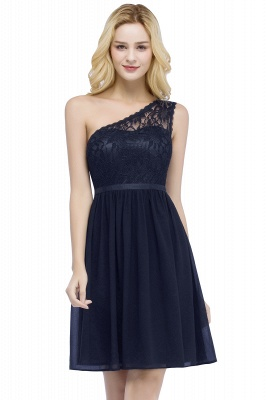 Top Short Homecoming Lace Dresses A-line One-shoulder Chiffon with Sash_3
