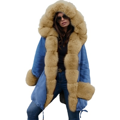 Women's Solid Color Hooded Long Faux Fur Coat Winter Jacket_47