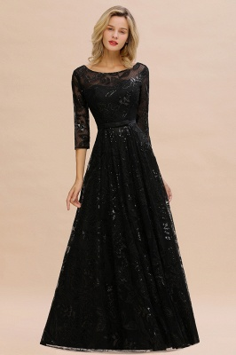 Sexy Black 3/4 Sleeves Sequins Prom Dress | Long Evening Gowns_7