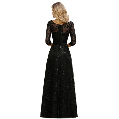 Sexy Black 3/4 Sleeves Sequins Prom Dress | Long Evening Gowns_13